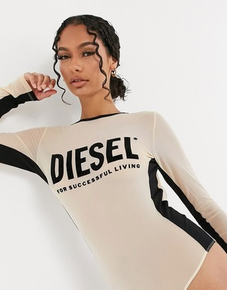 Diesel mesh-panel bodysuit with logo in beige