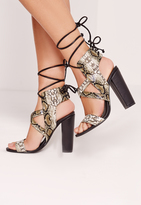 Missguided Snake Print Cross Strap Lace Back Block Heeled Sandals Multi