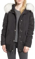 1 Madison Women's Genuine Fox Fur Trim Down Bomber Jacket