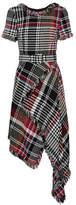 Oscar de la Renta Asymmetric Fringed Checked Cotton-blend Tweed Midi Dress - Black