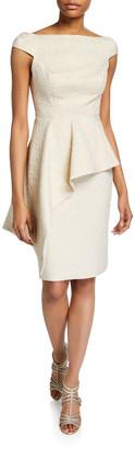 Rickie Freeman For Teri Jon Metallic Jacquard Off-Shoulder Cap-Sleeve Asymmetric Peplum Dress