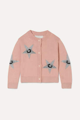 Stella McCartney Metallic Intarsia Organic Cotton And Merino Wool-blend Cardigan - Pink