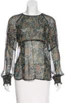 Veronica Beard Printed Long Sleeve Silk Blouse