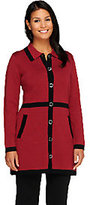 Liz Claiborne New York Sweater Coat with Contrast Trim
