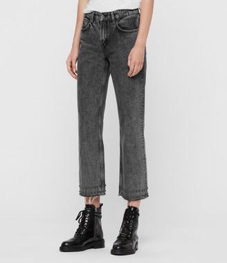 AllSaints Ava Stud Hem Straight Jeans