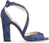 Jimmy Choo Carrie 100 denim sandals - women - Cotton/Calf Leather - 36