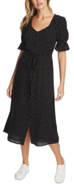 1 STATE Scattered Dot Puff-Sleeve Midi Dress
