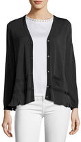 Moncler Knit Cardigan w/Pleated Peplum