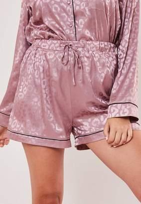 Missguided Plus Size Premium Mauve Animal Print Pyjama Shorts