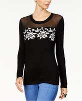 Thalia Sodi Illusion Appliqué Sweater, Created for Macy's