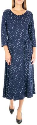 Nina Leonard Crew Neck 3/4 Length Sleeve Midi Dress