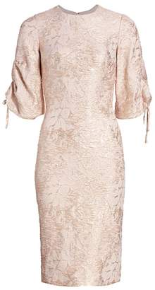 Theia Metallic Puff-Sleeve Dress