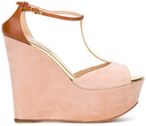 Casadei T-bar platform wedge sandals - women - Calf Leather/Chamois Leather/Leather/Kid Leather - 39