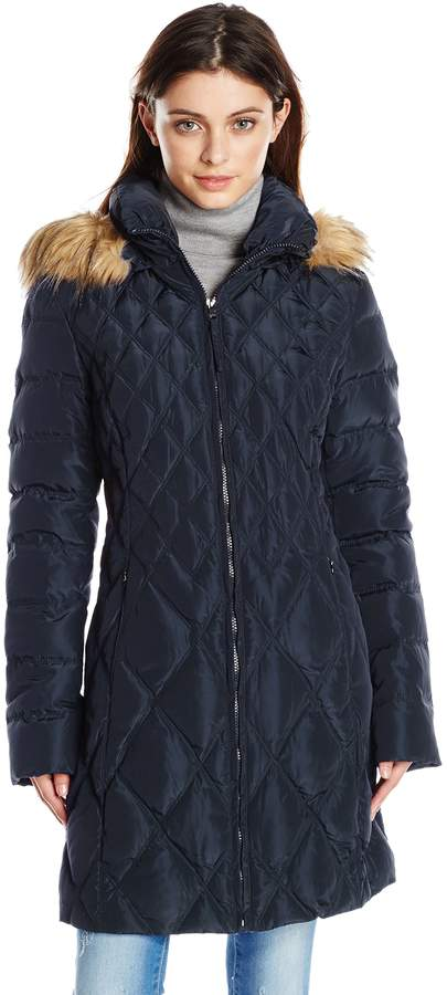 Jessica Simpson Outerwear Women's Mid-Length Diamond Quilted Down Coat with Faux Fur Trim