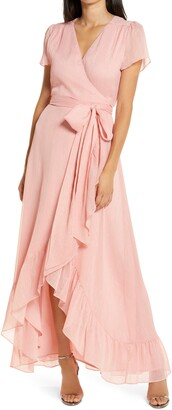WAYF The Natasha Metallic Chiffon Wrap Gown
