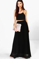 boohoo Mia Chiffon Pleated Maxi Skirt
