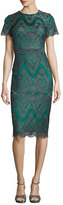 Catherine Deane Short-Sleeve Metallic Lace Cocktail Dress, Emerald