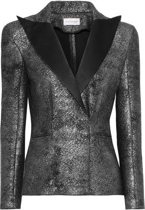 Faith Connexion Button-embellished Satin-trimmed Metallic Coated-knitted Blazer