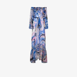 Emilio Pucci Wally print ruffled silk gown