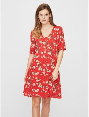 Vero Moda Floral Print Mini Dress with V-Neckc
