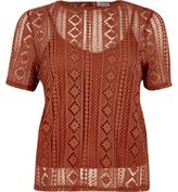 River Island Womens Dark orange embroidered lace top