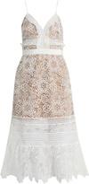 Self-Portrait Floral Blush guipure-lace midi dress