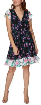 Betsey Johnson Mixed-Print Puff-Sleeve Dress