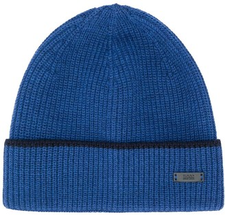 HUGO BOSS ribbed beanie hat