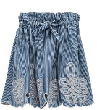 Innika Choo Min Easkurt Scalloped Striped Cotton Skirt - Blue Stripe