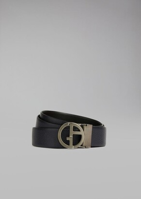 Giorgio Armani Belt In Grained Calfskin With Metal Logo