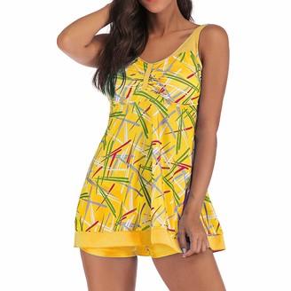 Kanpola Tops Wire Free Kanpola 2020 Women Plus Size Gradient Tankini Swimjupmsuit Swimsuit Wire Free Beachwear Padded Swimwear Yellow