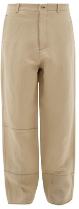 Rochas Embroidered Raw-edge Panelled-twill Trousers - Brown