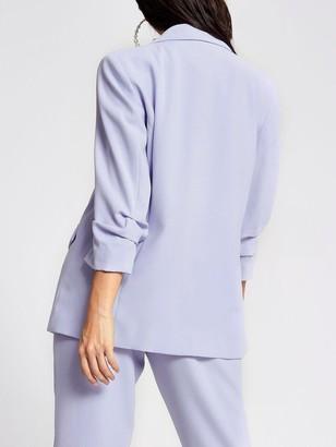Ri Petite Ruched Sleeve Blazer - Light Blue
