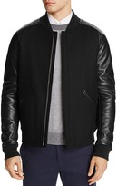 Theory Ferge Voedar Leather Sleeve Bomber Jacket - 100% Exclusive