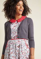 MCS1013 Looking for a dark grey sweater to add a dollop of darling to your wardrobe? This cropped cardigan is truly best in class, thanks to its cozy knit - with improved fabric to avoid pilling - and V-neck. Slip this ModCloth-exclusive, 3/4-sleeved number over