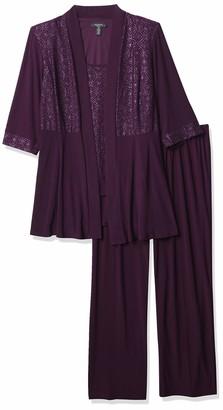 R & M Richards R&M Richards Women's Plus-size Two Piece Glitter and Lace Pant Set Large Dress