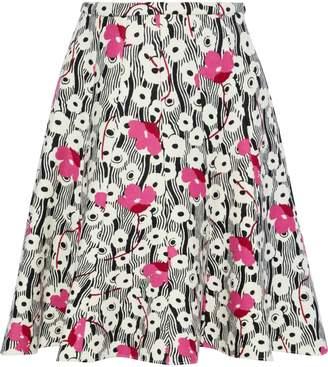 Valentino Flared Floral-print Wool-felt Skirt