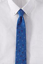 Lands' End Men's Printed Cotton Tossed Anchor Necktie-Black Brushed Dots