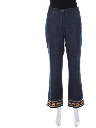 Escada Indigo Denim Floral Embroidered Straight Leg Jeans XL