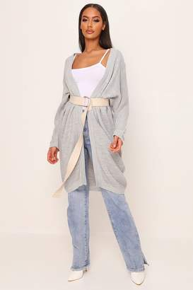 I SAW IT FIRST Grey Ribbed Oversized Cardigan
