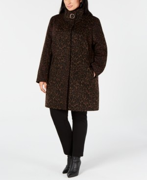 Via Spiga Plus Size Leopard-Print Coat
