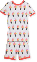 Petit Lem Ice-Cream Top & Shorts Pajama Set, Off White, Size 2-4