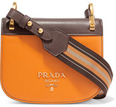 Prada Pionnière Canvas-trimmed Two-tone Leather Shoulder Bag - Mustard