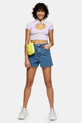 Topshop Womens A Line Rich Denim Shorts - Mid Stone