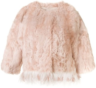 Yves Salomon Feather-Trimmed Collarless Jacket