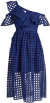 Self-Portrait One-shoulder guipure-lace midi dress