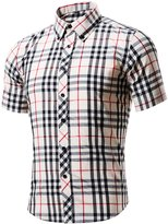 Xi Peng Men's Casual Plaid Checkered Gingham Short Sleeve Button Down Dress Shirts