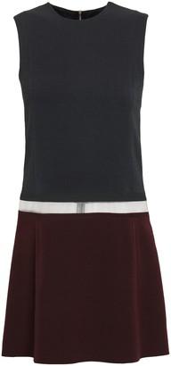 Victoria Beckham Tulle-paneled Wool And Silk-blend Crepe Mini Dress