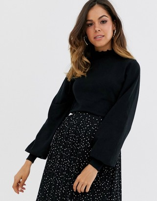 New Look frill collar sweater in black