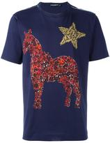 Dolce & Gabbana crystal horse print T-shirt - men - Cotton - 46